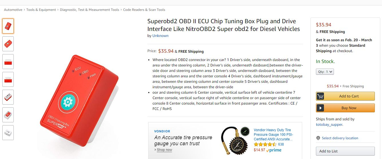 SuperOBD OBDII Chiptuning Box Amazon Product Listing