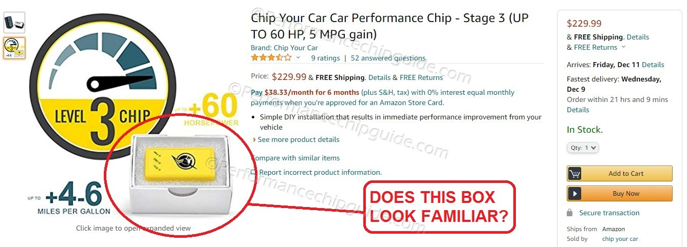 Chipyourcar Amazon Product Listing for Thunderbolt Performance Chip