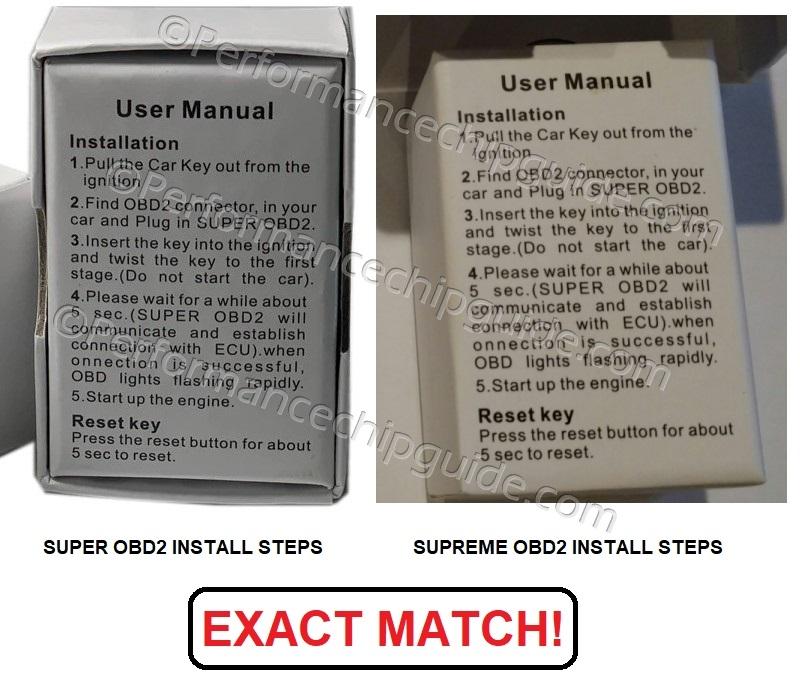 Comparison of SuperOBD and SupremeOBD Box and Install Instructions