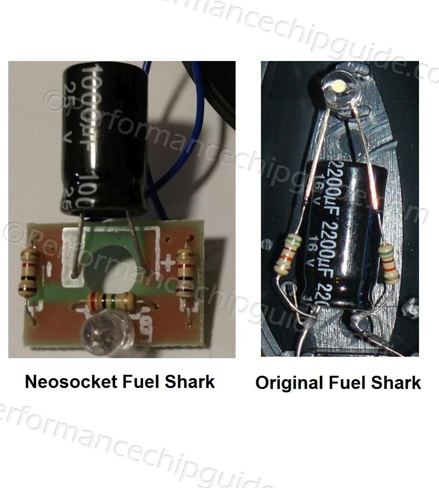 Neosocket Fuel Shark Circuit Board comparison vs Original Fuel Shark Cigarette Lighter PCB