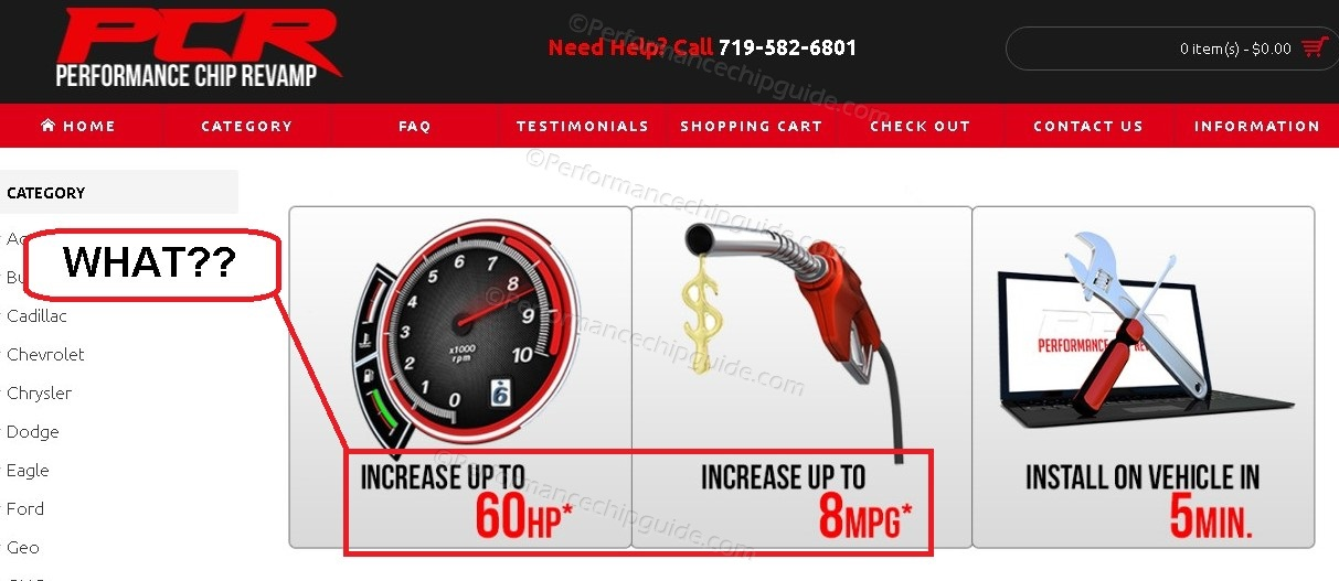 PCR Website Claims HP and MPG