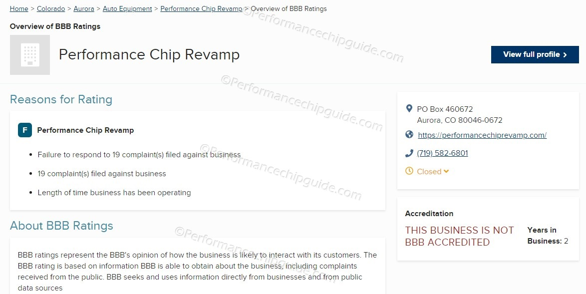 Performance Chip Revamp BBB Rating of F