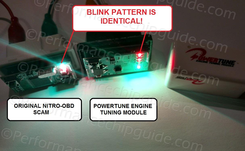 NitroOBD vs Powertune Engine Tuning Module Bench Blink Test