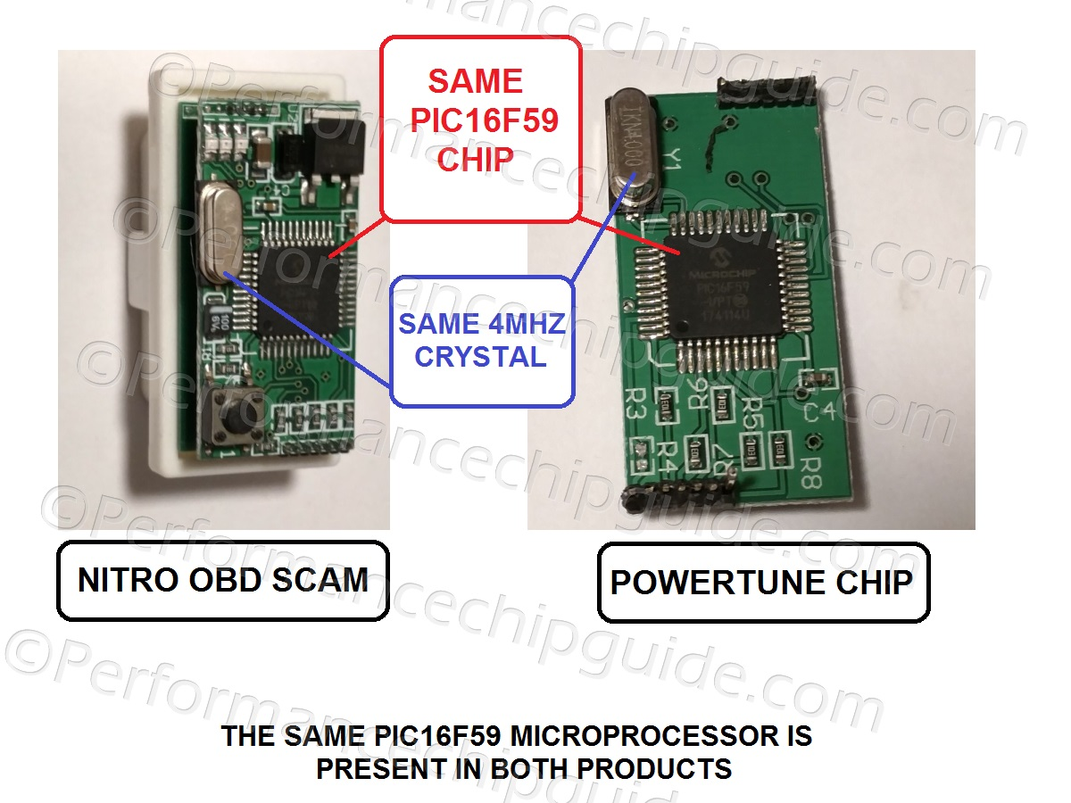Powertune Engine Tuning Module Microprocessor Comparison to Nitro OBD Scam