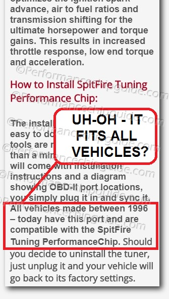 Spitfire Tuning Performance Chip Claims Universal Fit